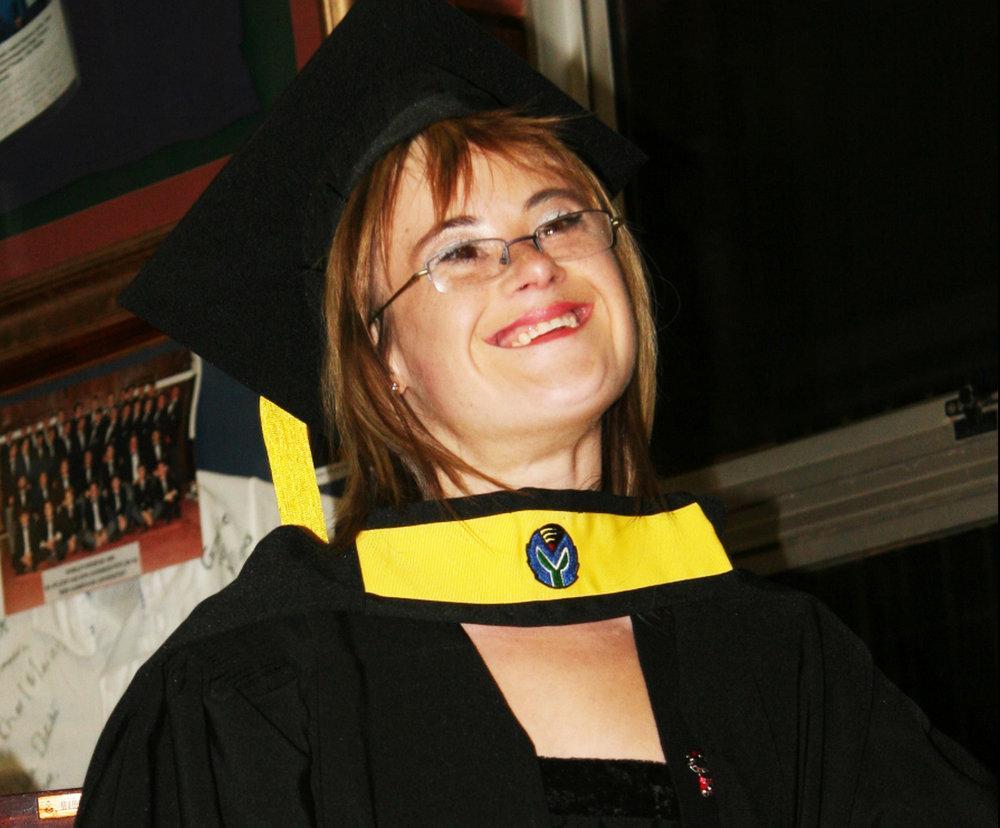 Sheri Brynard receiving her tertiary teachers diploma